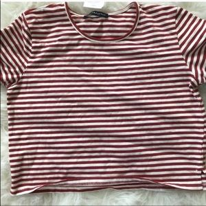 Nwt Brandy Melville Red White Striped Crop Tee Top